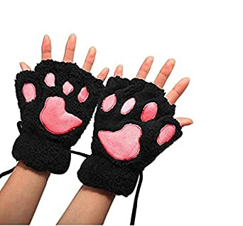 Higere 1 Pair Women Plush Cat Paw Claw Glove Soft Winter