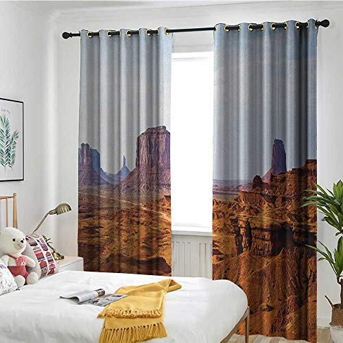 - TRTK Bedroom Curtains 2 Panel Sets Drape Desert,Monument Valley View from John Fords Point Merritt Butte Sandstone Image Baby Blue Mauve Amber
