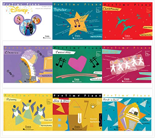 Faber Piano Adventures PreTime Piano Primer level Books Set (9 Books) - Disney, Christmas, Favorites, Classics, Popular, Hymns, Kids' Songs, Jazz&Blues, Rock'n Roll ()