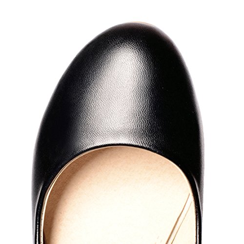 AIYOUMEI Damen Geschlossen Knöchelriemchen Blockabsatz Pumps mit Strass Sommer Schuhe Schwarz