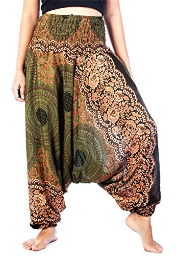 Lofbaz Women's Rose 1 Smocked Waist 2 in 1 Harem Jumpsuit Pants Green M ()