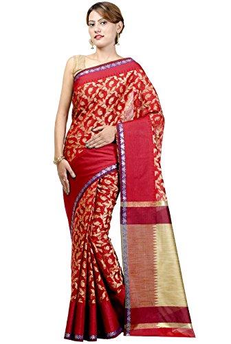 Chandrakala Women's Red Banarasi Cotton Silk Saree by Chandrakala
