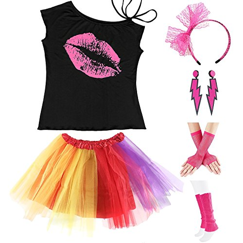 Adult Sexy Bag - Womens 80s Accessories, I Love The 80's / 80s Pop/Sexy Lips Shoulder T-Shirt Outfit/Tutu Skirt/Neon Fanny Packs for 1980s Party Costume,S2,Lips,L