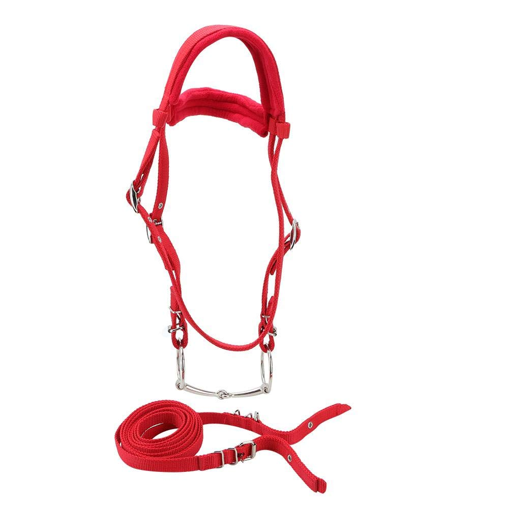 Horse Bridle Red Adjustable Horse Bridle Rein Harness Headstalls Removable Snaffle Bit with Soft Cushion by Hffheer