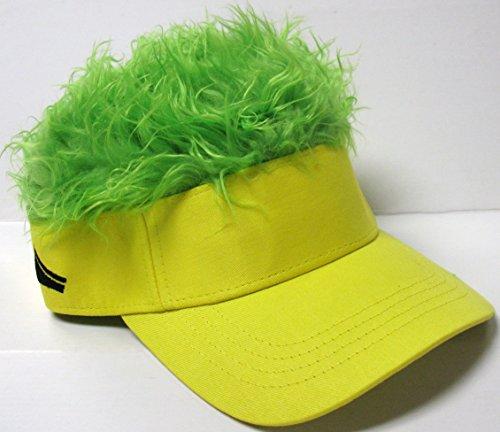 The Original Flair Hair Visor, Yellow Visor, Green Hair (Hats With Hair Attached)