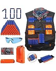 Kids Tactical Vest Kit Spielzeug - Kids Elite Tactical Vest Kit für Nerf N-strike Elite-Serie mit 100 Nachfüllpfeilen + 2 Nachladeklammern + Soft Dart Wrist Band + Gesichtsrohrmaske + Schutzbri