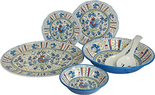 (Le Cadeaux Blue Rooster 16 Piece Melamine Dinnerware Set)