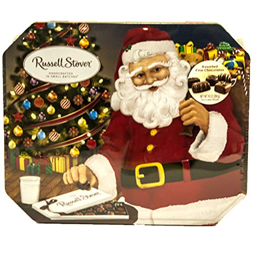 Russell Stover Assorted Fine Chocolates Classic Santa Tin 10 oz. (Christmas Tin Santa)