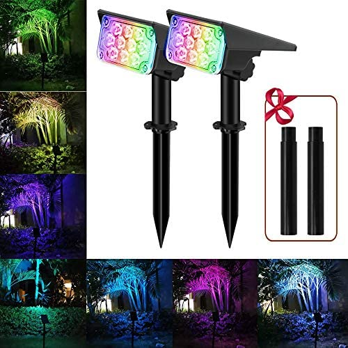 RGB Solar Landscape Spotlights APONUO Outdoor Solar Spot Lights 7 Colors Changing IP65 Waterproof with Extension Stake Colored Spotlights for Statue Porches Garden Lawn 2 Packs
