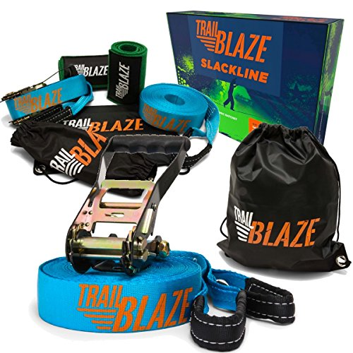 Trailblaze Slackline Kit with Tree Protectors, Ratchet Cover + Carry Bag - Perfect Slack Lines for Family Healthy Fun. Easy Setup 50 ft Tight Rope Balance Strap by Trailblaze