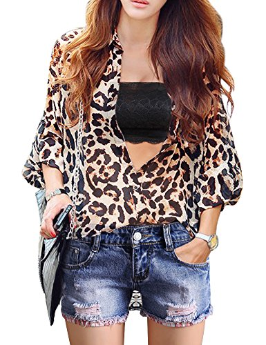 DELUXSEY Leopard Chiffon Blouses For Women - Womens Tops Button Down Shirts (L)