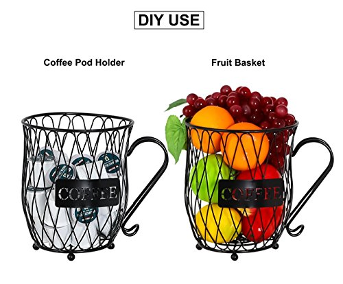 PAG Coffee Pod Holder with Storage and Metal Wire Mug Fruit Basket, Black by PAG (Image #2)