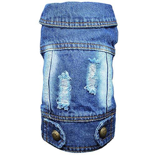 DC.PET Clothes Dog Jean Jacket Dog Denim Blue Vest Coat Shirt Dog Clothes for Small Medium Dogs (S, Back Holes)