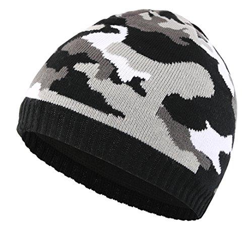 Home Prefer Men's Winter Hat Outdoor Camo Knitted Fleece Lined Beanie Skull Cap Black Winter Camo Cap Hat