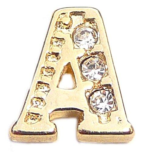 Fancy Goldtone Letter A Floating Locket Charm