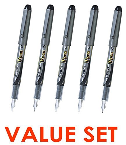 Pilot V Pen (Varsity) Disposable Fountain Pens, Black Ink, Medium Point Value Set of 5(With Our Shop Original Product Description)