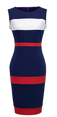 HOMEYEE Women's Voguish Colorblock Stripe Pencil Dress B275