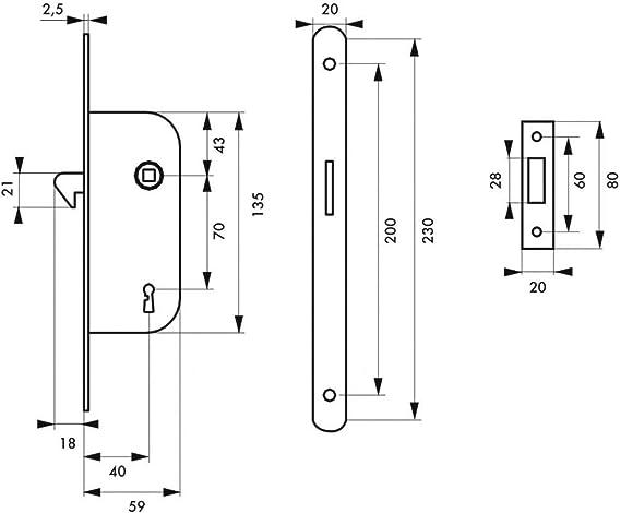 Thirard - Serrure encastrable à mentonnet pêne dormant 1/2 tour v/br pour porte coulissante: Amazon.es: Bricolaje y herramientas