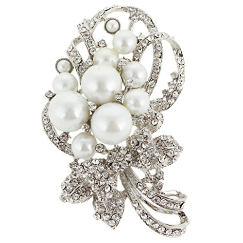 (EVER FAITH Bridal Bouquet Ivory Color Simulated Pearl Brooch Pendant Clear Austrian Crystal)