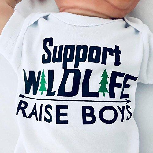 8ffadcf11 Newborn Support Wildlife - Raise Boys Bodysuit, Newborn Boy Clothes, Funny Baby  Boy Outfit, Mom of Boys, Baby Shower Gift for Boy, Short Sleeve, White, ...