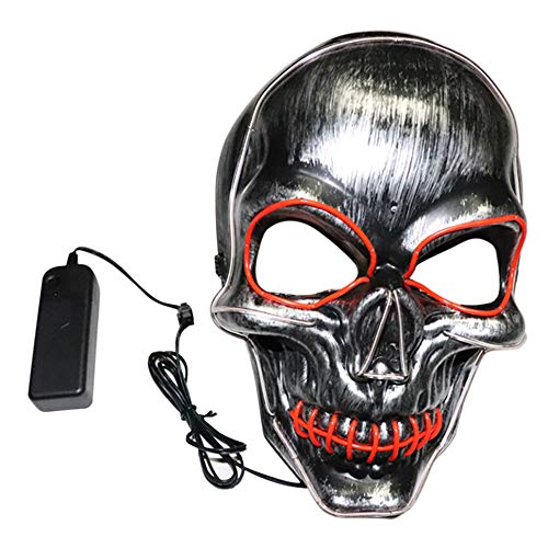 XILALU Sound Reactive LED Skull Mask, Halloween Party Dance Rave Light Up Adjustable Festivals Full Mask for Adult ()