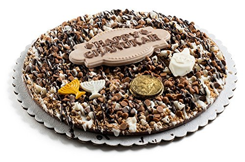 Fresh Gourmet Premium Quality Dark Praline Happy Chanukah Holiday Chocolate Gift Pie Set- Best Sweet Treat Fancy Decorative Peppermint Candy Topping Party Dessert Tart-Top Wish (7 Inch)