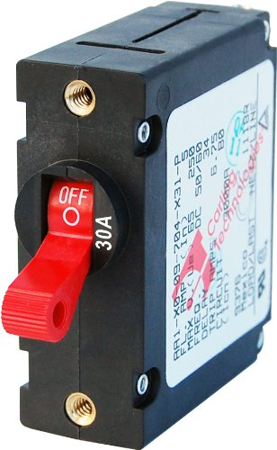 (Blue Sea Systems A-Series Red Toggle Single Pole 30A Circuit Breaker)