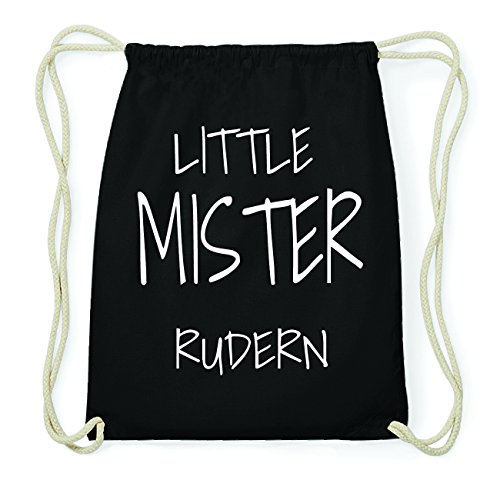 JOllify RUDERN Hipster Turnbeutel Tasche Rucksack aus Baumwolle - Farbe: schwarz Design: Little Mister MQLw06lDWy