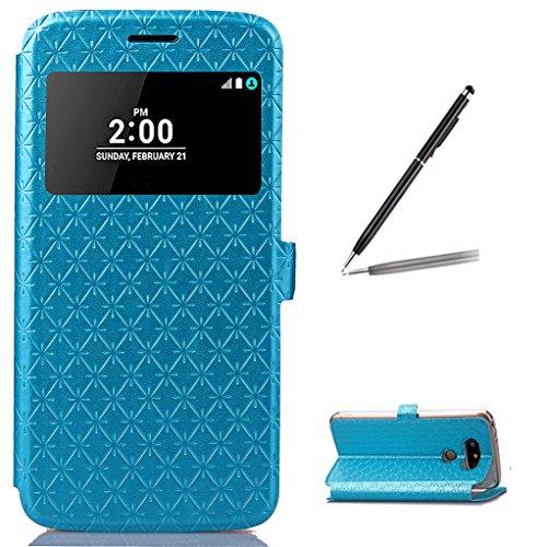 Trumpshop Smartphone Carcasa Funda Protección para LG G5 + Oro + Ver Ventana PU Cuero Caja Protector con Función de Soporte Ranuras para Tarjetas Choque Absorción Azul