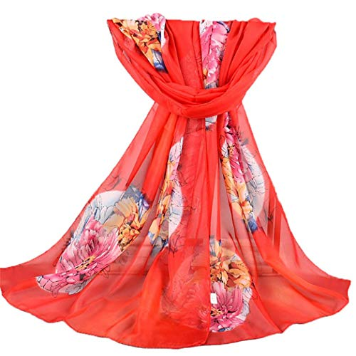 426JingYu Women Voile Wrap Scarf Print Floral Scarves Head Shawl Wraps,Lightweight Wrap and Shawls Girls Scarves Red
