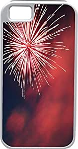 iPhone 4 Case iPhone 4S Case Cases Customized Gifts Cover White Fireworks Black and Red Background Design