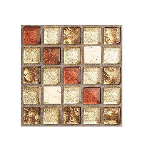 (MISIXILE Mosaic Tile Sticker for Kitchen & Bathroom Backsplash Red Crystaln Pattern Mosaic Tile Sticker Decals 4x4 Inch (20pcs/Set))