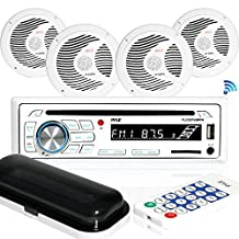 Pyle PLCDBT85MRW Bluetooth Marine Stereo Radio Receiver & Waterproof (4) 6.5'' Speaker Kit, CD Player