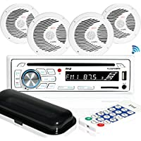 Pyle Bluetooth Marine Stereo Receiver & Waterproof Speaker Kit, Hands-Free Talking, CD Player, MP3/USB/SD Readers, AM/FM Radio, (4) 6.5'' Speakers (PLCDBT85MRW)