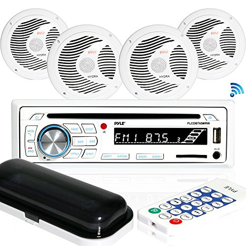 - Marine Stereo Receiver Speaker Kit - in-Dash LCD Digital Console Built-in Bluetooth & Microphone 6.5