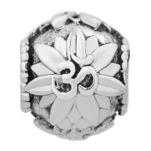 ReisJewelry Om Yoga Symbol Lotus Flower Charm Spacer Beads For Bracelets ()