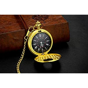 LYMFHCH Vintage Pocket Watch Roman Numerals Scale Quartz Mens Womens Watch with Chain Christmas Graduation Birthday Gifts Fathers Day