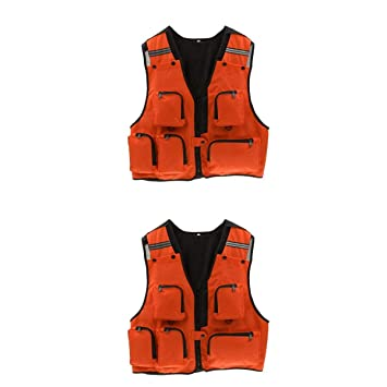 efdca90370af7 MagiDeal 2 Pieces Orange Men's Multi Pockets Hunting Fly Fishing ...