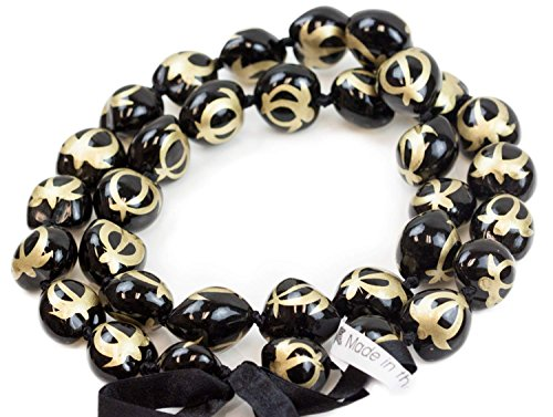 Painted Kukui Nuts - Barbra Collection Hawaiian Style Kukui Nut Lei Hand Painted Gold Turtle 32 Inches