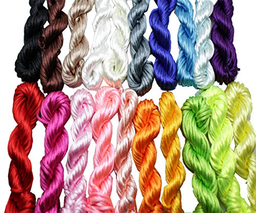 New 20bundles 200Yards 2.5mm Satin/Rattail Silk Cord for Necklace Bracelet Beading Cord ()