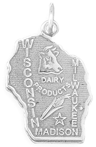 Oxidized Sterling Silver Charm, State of Wisconsin, 1 inch