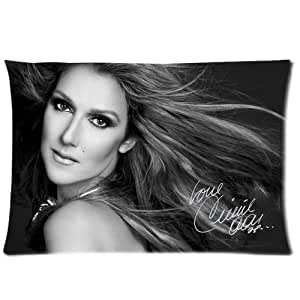Custom Black and White Celine Dion Zippered Pillowcases Cusion Cover Case Standard Size 20x30 Inch (Twin Sides)