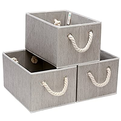 StorageWorks Decorative Storage Bins with Cotton Rope Handles, Foldable Storage Basket, Gray, Bamboo Style, 3-Pack, Large,14.4x10.0x8.3 inches (LxWxH) - STURDY COTTON ROPE HANDLES: Our stylish storage bins come with soft braided handles knotted through strong metal grommets that allow you to carry up to 25 lbs. Enjoy the fun of DIY and assemble the ropes yourself! Please see the picture for simple assembly instructions. FRESH AND ELEGANT STYLE: Our minimalist, gray bamboo style makes these unique fabric storage bins simple yet exquisite, fitting in among your household decor while at the same time leaving your space less cluttered. DURABLE MATERIALS: Our decorative canvas storage bins are made of smell-free polyester fabric that surrounds heavy-duty cardboard, allowing our bins to stay upright (even when they are empty). With dimensions of 14.4*10.0*8.3 inches (L*W*H), they can sit comfortably on your desk or counter. - living-room-decor, living-room, baskets-storage - 517ZdmwQi8L. SS400  -