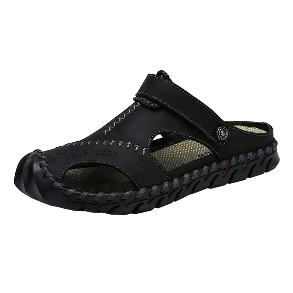 〓COOlCCI〓Men's Sports Sandals, Men Sandals Summer Beach Shoes,Men Hollow Sandals Slip-on Toe Roman Casual Shoes Black