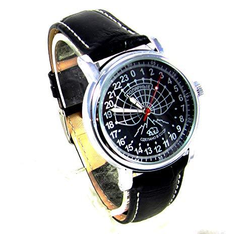 Raketa Polar Mens Watch 24 Hours Antarctica Original Petrodvorets Mens Gift (Black)