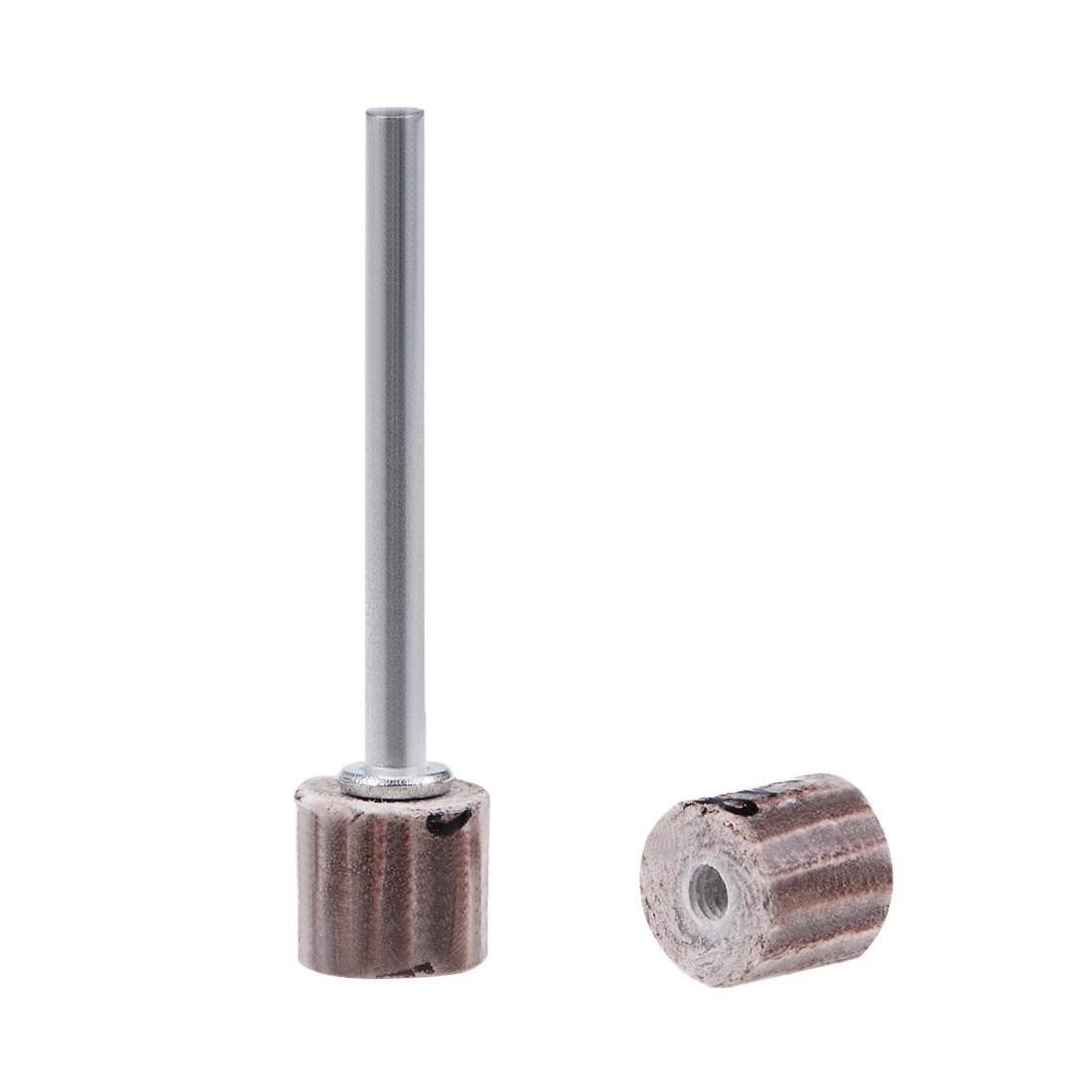 uxcell 2 Pcs 8x8mm Flap Wheel 180 Grits Abrasive Grinding Head with 1/8'' Shank for Rotary Tool