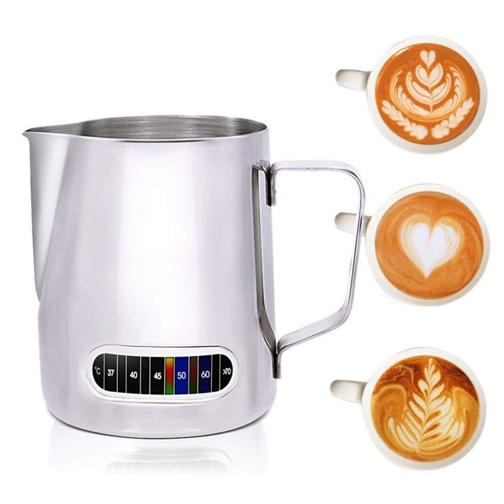 XIAOLAOBIAO Milk Frothing Jug with Built-in Thermometer, Stainless Steel Creamer Frothing Pitcher 20 Oz (600 Ml) Espresso Coffee Latte Pots (Color : 1, Size : M) by XIAOLAOBIAO