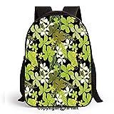 Fresh Nature Theme Wildflowers Leaves Bloom Foliage Nostalgia Vintage Abstract Print School Backpacks For Girls Kids Elementary School Bags Bookbag,Green Black White