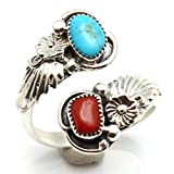 Turquoise & Coral Adjustable Silver Ring by Navajo Artist Belin