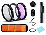 Beaspire Professional Universal Lens Accessory Kits 52MM UV CPL FLD Lens Filters + Petal Lens Hood + Center Lens Cap Set + Cleaning Pen + Cleaning Wipe for Canon Nikon Sony SLR DSLR Cameras(52MM)